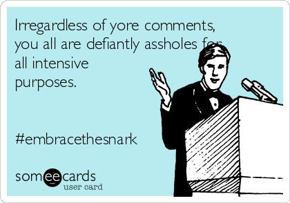 Irregardless of yore comments, you all are defiantly assholes for all intensive purposes.   #embracethesnark