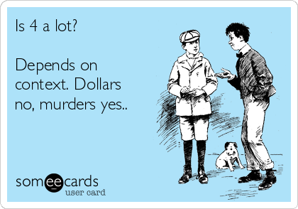 Is 4 a lot?  Depends on context. Dollars no, murders yes..