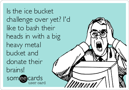 Is the ice bucket challenge over yet? I'd like to bash their heads in with a big heavy metal bucket and donate their brains!