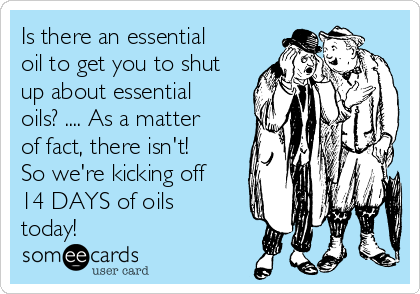 Is there an essential oil to get you to shut up about essential oils? .... As a matter of fact, there isn't! So we're kicking off 14 DAYS of oils today!
