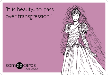 """""""It is beauty...to pass over transgression."""""""