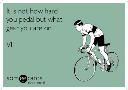 It is not how hard you pedal but what gear you are on  VL
