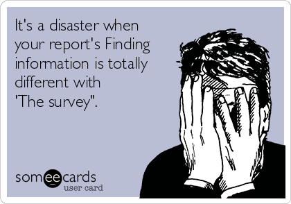 """It's a disaster when your report's Finding information is totally different with  'The survey""""."""