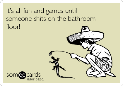 It's all fun and games until someone shits on the bathroom floor!