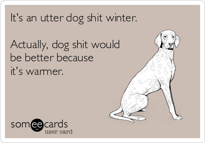 It's an utter dog shit winter.  Actually, dog shit would be better because  it's warmer.