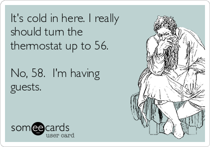 It's cold in here. I really should turn the thermostat up to 56.  No, 58.  I'm having guests.