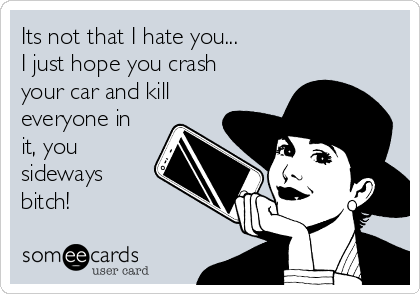 Its not that I hate you... I just hope you crash your car and kill everyone in it, you sideways bitch!