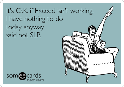 It's O.K. if Exceed isn't working. I have nothing to do today anyway said not SLP.