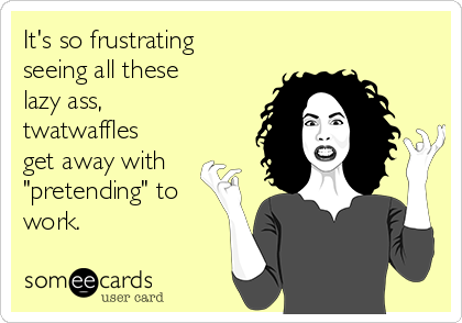 """It's so frustrating seeing all these lazy ass, twatwaffles get away with """"pretending"""" to work."""