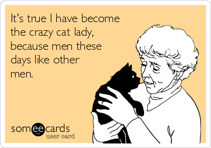 It's true I have become the crazy cat lady, because men these days like other men.