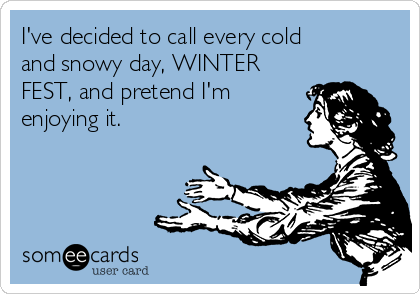 I've decided to call every cold and snowy day, WINTER FEST, and pretend I'm enjoying it.
