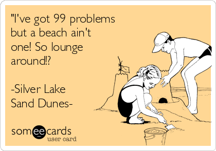"""I've got 99 problems but a beach ain't one! So lounge around!?  -Silver Lake Sand Dunes-"