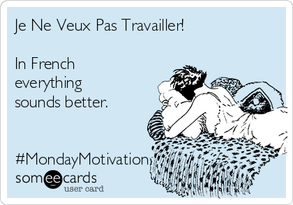 Je Ne Veux Pas Travailler!  In French everything sounds better.    #MondayMotivation