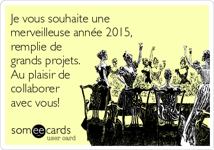 Je vous souhaite une merveilleuse année 2015,  remplie de grands projets. Au plaisir de collaborer avec vous!