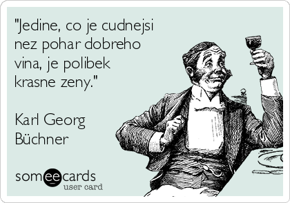 """""""Jedine, co je cudnejsi nez pohar dobreho vina, je polibek krasne zeny.""""  Karl Georg Büchner"""