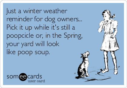 Just a winter weather reminder for dog owners... Pick it up while it's still a poopcicle or, in the Spring, your yard will look like poop soup.