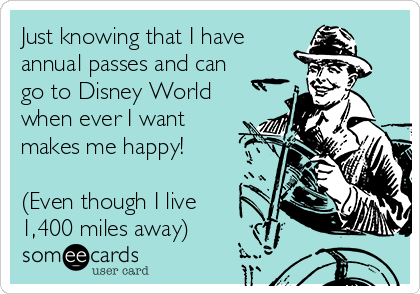 Just knowing that I have  annual passes and can go to Disney World when ever I want makes me happy!  (Even though I live 1,400 miles away)