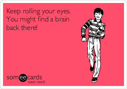 Keep rolling your eyes. You might find a brain back there!