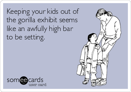 Keeping your kids out of the gorilla exhibit seems like an awfully high bar to be setting.