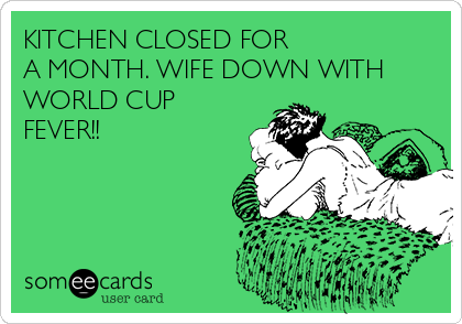 KITCHEN CLOSED FOR  A MONTH. WIFE DOWN WITH WORLD CUP FEVER!!