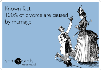 Known fact. 100% of divorce are caused by marriage.