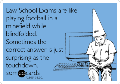 Law School Exams are like playing football in a minefield while blindfolded.  Sometimes the correct answer is just surprising as the touchdown.