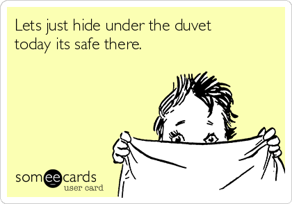 Lets just hide under the duvet today its safe there.