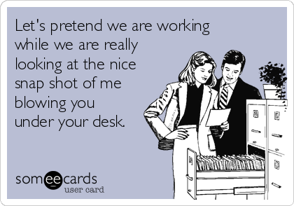 Let's pretend we are working while we are really looking at the nice snap shot of me blowing you under your desk.