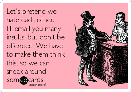 Let's pretend we hate each other. I'll email you many insults, but don't be offended. We have to make them think this, so we can sneak around