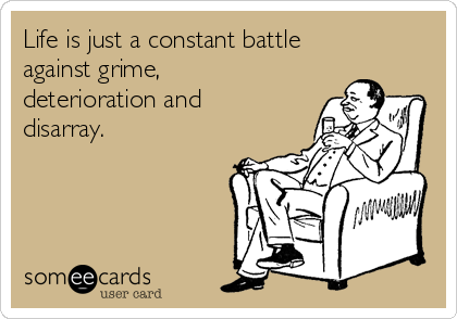 Life is just a constant battle against grime, deterioration and disarray.