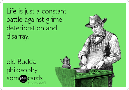 Life is just a constant battle against grime, deterioration and disarray.    old Budda philosophy