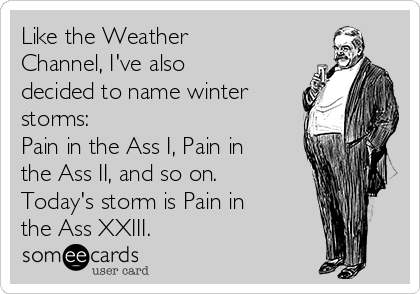Like the Weather Channel, I've also decided to name winter storms: Pain in the Ass I, Pain in the Ass II, and so on. Today's storm is Pain in the Ass XXIII.