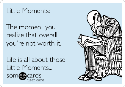 Little Moments:  The moment you realize that overall, you're not worth it.  Life is all about those  Little Moments...