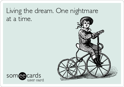 Living the dream. One nightmare at a time.