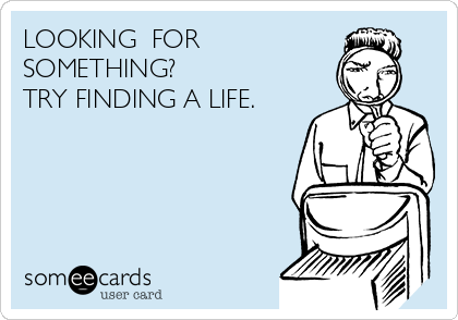 LOOKING  FOR  SOMETHING? TRY FINDING A LIFE.