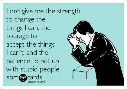 Lord give me the strength  to change the things I can, the courage to accept the things  I can't, and the patience to put up with stupid people