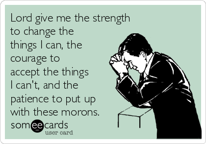 Lord give me the strength  to change the things I can, the courage to accept the things  I can't, and the patience to put up with these morons.