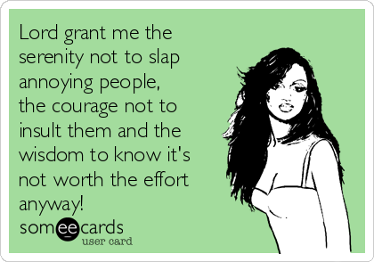 Lord grant me the serenity not to slap annoying people, the courage not to insult them and the wisdom to know it's not worth the effort anyway!