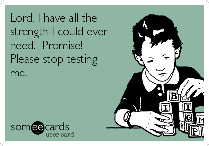 Lord, I have all the strength I could ever need.  Promise!  Please stop testing me.