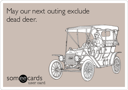 May our next outing exclude dead deer.