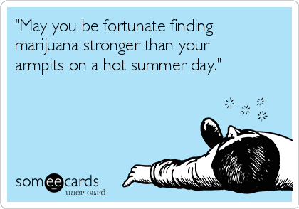 """""""May you be fortunate finding marijuana stronger than your armpits on a hot summer day."""""""