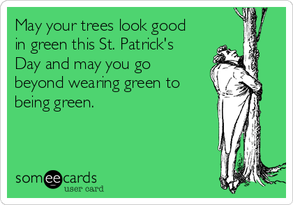 May your trees look good in green this St. Patrick's Day and may you go beyond wearing green to being green.