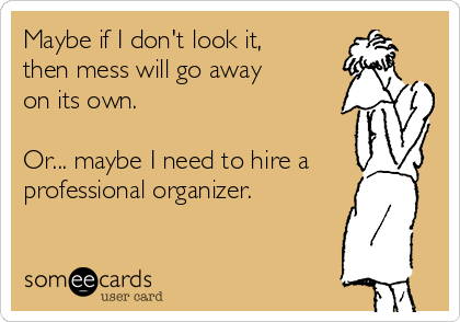 Maybe if I don't look it, then mess will go away on its own.  Or... maybe I need to hire a professional organizer.