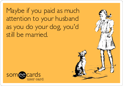 Maybe if you paid as much attention to your husband as you do your dog, you'd still be married.