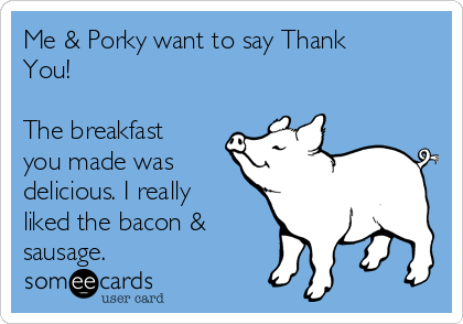 Me & Porky want to say Thank You!  The breakfast you made was delicious. I really liked the bacon & sausage.