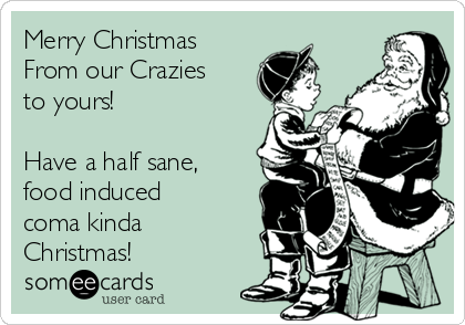 Merry Christmas From our Crazies to yours!  Have a half sane, food induced coma kinda Christmas!
