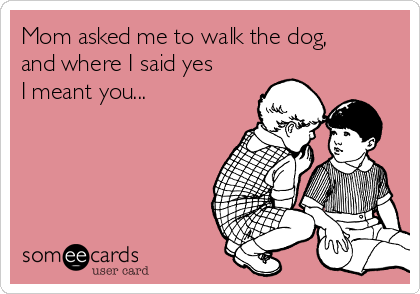 Mom asked me to walk the dog, and where I said yes I meant you...