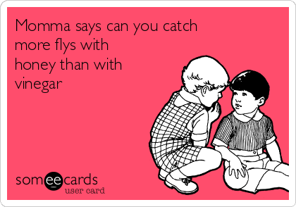 Momma says can you catch more flys with honey than with vinegar