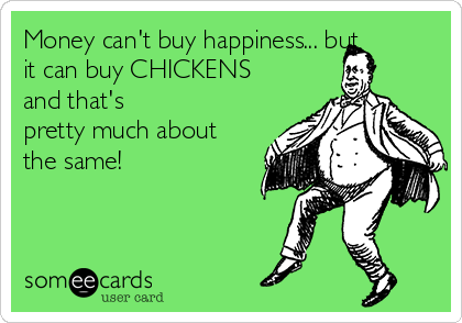 Money can't buy happiness... but it can buy CHICKENS and that's pretty much about the same!