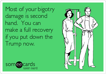 Most of your bigotry damage is second hand.  You can make a full recovery if you put down the  Trump now.
